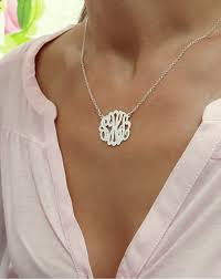 Monogram Necklaces Small Personalized Silver Monogram Necklace 1