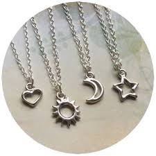 star friendship necklace images Sun moon heart or star friendship necklaces dainty 18 silver jpg