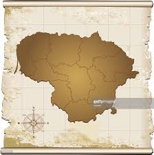 Map With Compass Lithuania Retro Map With Compass Rose Vector Art Getty Images