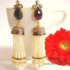 latkan earrings buy purple latkan pearl earrings online