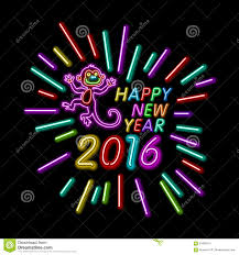 vector illustration of 2016 new year outline neon light background