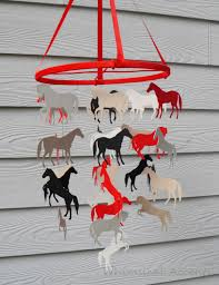 Deer Mobile For Crib Horse Nursery Decorative Baby Mobile In Red Black Cream And Tan