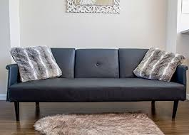 Futon Leather Sofa Bed Leather Sofa Bed With Tray And Cup Holders Black Contemporary