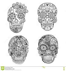 lines art design of unique floral skulls for coloring pages