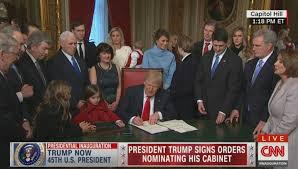 Cabinet President Lawmakers Joke Trade Pens At Trump U0027s First Signing Ceremony Ny