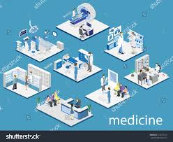 isometric flat interior hospital room pharmacy stock vector