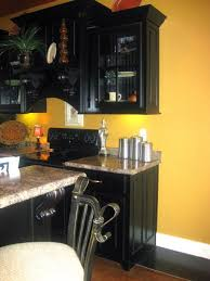 furniture black and yellow kitchen with black kitchen counter
