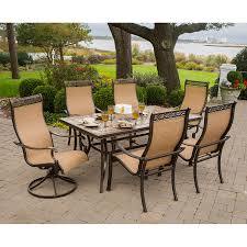 shop hanover outdoor furniture monaco 7 piece bronze stone patio