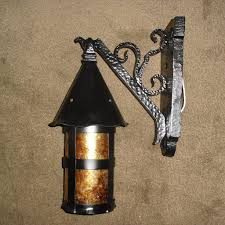 tudor iron with mica porch light fixture from