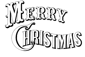 merry christmas black white clipart
