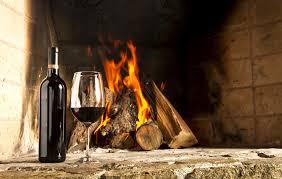bonfire wine fireplace food bottle stemware