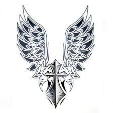 1pcs big cool mens cross wing tattoos beautiful arm back cross wings