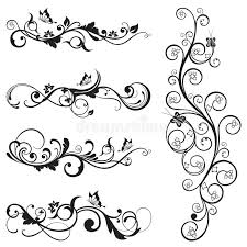 collection of vintage floral silhouette designs stock vector