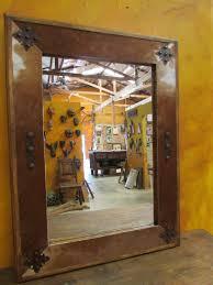 bathroom vanity cowhide medallion mirror wood mexican 34x34 rustic