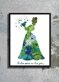 princess frog quote disney watercolor print