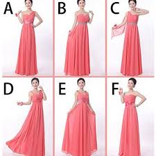 bridesmaid dresses coral s a line length chiffon coral color several styles