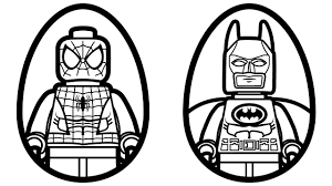 surprise eggs lego spiderman vs lego batman coloring pages