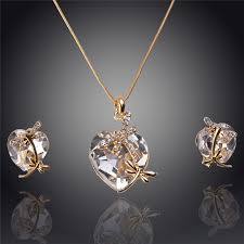 gold animal pendant necklace images Women 39 s crystal dragonfly pendant necklace and earring set jpg