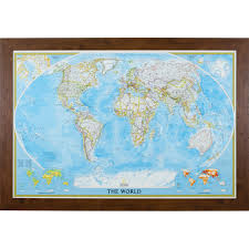 World Map Art Print by Wayfarer Classic World Push Pin Travel Map Craig Frames
