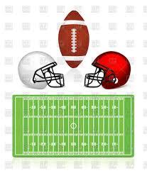 american football field ball and helmet royalty free vector clip