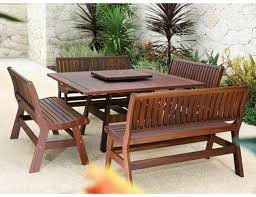 Outdoor Wooden Patio Furniture Bench Design Interesting Patio Table Bench Outdoor Patio Table
