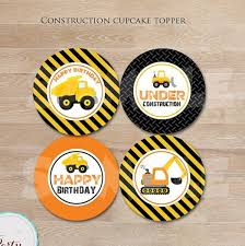 construction party supplies construction party circles sticker dump truck cupcake toppers