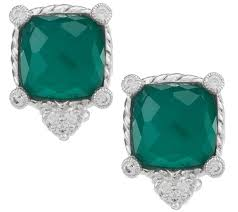 green stud earrings judith ripka sterling green goddess doublet stud earrings page 1