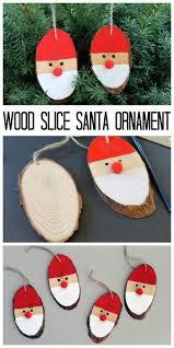 wood slice santa ornaments santa ornaments tree and