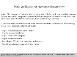 Credit Analyst Resume Sample by Bank Credit Analyst Recommendation Letter
