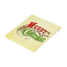 Unique Holiday Gift Idea Glass Merry Christmas Vintage Card Slogan Glass Coaster Merry