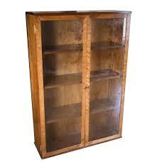 Glass Door Bookshelf Vintage Poplar Glass Door Bookcase Cabinet Ebth