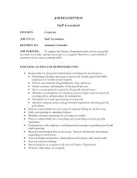 Accountant Job Profile Resume Cover Letter Staff Accountant Job Description Bank Staff