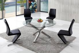 Branseo Glass Dining Table With Amarni Dining Chairs - Contemporary glass dining room furniture