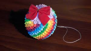 3d origami christmas bauble rainbow tutorial youtube