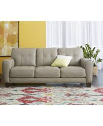 Tufted Leather Sofas Kaleb 84 Tufted Leather Sofa Created For Macy S Furniture Macy S