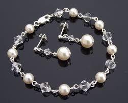 crystal pearl bracelet swarovski images Swarovski crystal pearl bridesmaids bracelet earring set jpg