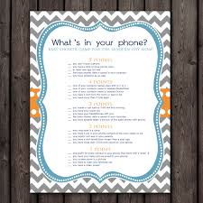 whats in your cell phone baby shower game orange teal blue
