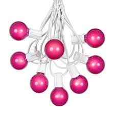 100 pink g40 globe outdoor string light set on white wire