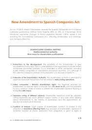 new amendment to spanish companies act