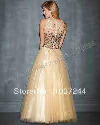 black and gold color ball gown floor length sleeveless evening