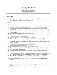 Sle Resume Objectives Tech erin vet tech resume veterinary technician resume objective