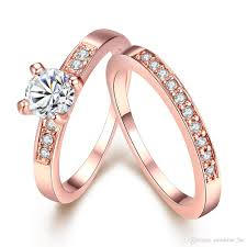 swarovski rings gold images 2018 luxury 18k rose gold plated round rings fashion full drill cz jpg