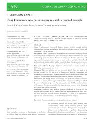 using framework analysis in nursing research a worked example