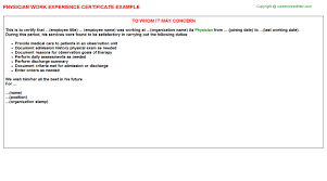physician work experience certificate