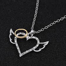 ring pendants necklace images Angel wings quot gold ring quot pendant necklace blown biker jpg
