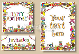 Doodle Birthday Card Set Greeting Cards Birthday Party Templates With Sweets Doodles