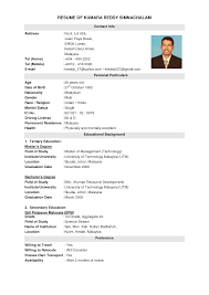 exle of resume to apply best resume template malaysia resumecurriculum vitae template msn