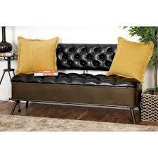 cole u0026 grey metal and faux leather storage bench u0026 reviews wayfair