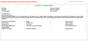 bus driver employment contract