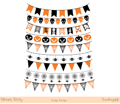 halloween digital banner halloween bunting clipart orange and